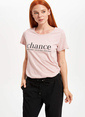 DeFacto Baskılı Kısa Kollu T-shirt Pembe